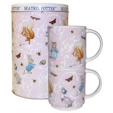 Peter Rabbit: Two Pink Ditzy Stacking Mugs in Tin *limited stock
