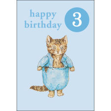 Tom Kitten: Tom Kitten Age 3 Birthday Card with Badge