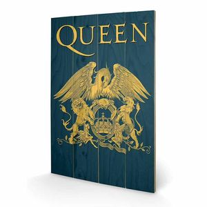 Queen: «Emblème» Queen imprimé sur bois