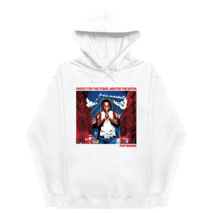 Pop Smoke: POP SMOKE X VLONE CITY WHITE HOODIE + DELUXE DIGITAL ALBUM