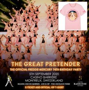 Freddie For A Day: The Official Freddie Mercury 74th Birthday Party 05/09/2020 E-Ticket & VIP T-Shirt