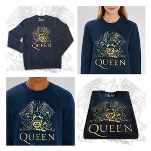 Queen: Gold Crest On French Blue Unisex Super Soft Sweatshirt