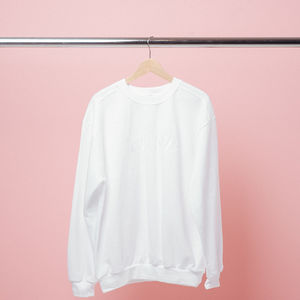 The 1975: White Logo Embroidered Crewneck