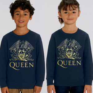 Queen: Gold Crest On French Blue Childrens Super Soft Sweatshirt