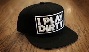 I Play Dirty: I Play Dirty White Logo Snapback Cap