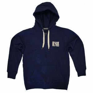 We Will Rock You: We Will Rock You Embroidered Zip Navy Hoodie