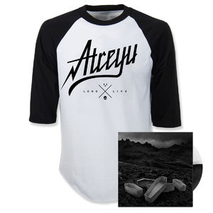 Atreyu: Script Baseball Shirt and Vinyl Bundle