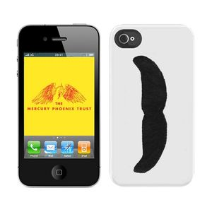 Freddie For A Day: Coque blanche pour i-Phone 4 avec logo moustache « Freddie For A Day »