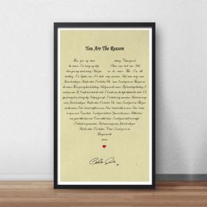 Calum Scott: You Are The Reason Lyric Poster