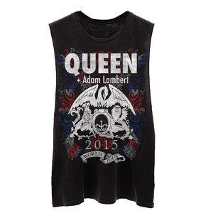 Queen + Adam Lambert: Queen + Adam Lambert World Tour Crest Logo Black Fitted Vest