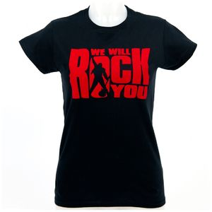 We Will Rock You: T-Shirt moulant floqué noir « We Will Rock You »