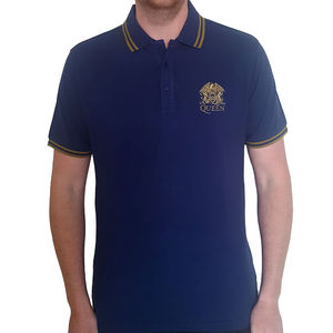 Queen: Unisex Polo Shirt With Gold Crest Logo and Trim