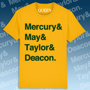 Queen: Names T-Shirt Yellow