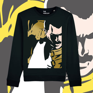 Freddie For A Day: Gold Freddie On Black Unisex Supersoft Sweatshirt