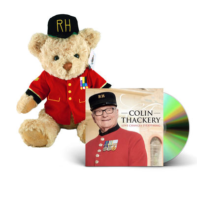 Colin Thackery : SIGNED Colin Thackery album & Official Royal Hospital Chelsea Teddy Bear