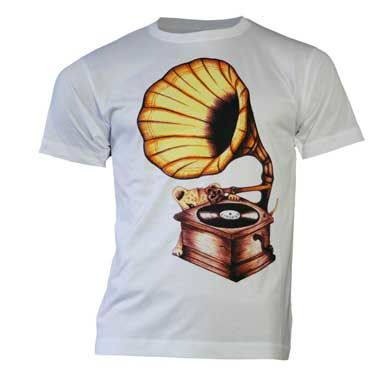 Amy Winehouse: Lioness Gramophone With Colour Print Mens T-Shirt