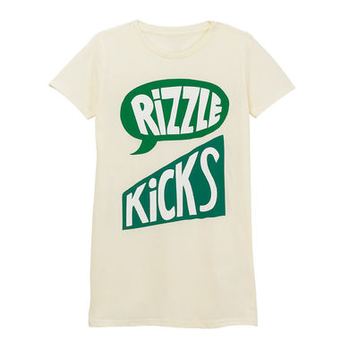 Rizzle Kicks: LOGO GREEN AND SAND T-SHIRT (LADIES)