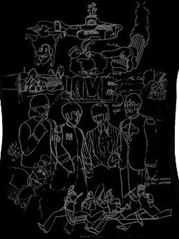The Beatles: Yellow Submarine Sketches Ladies Black T-Shirt