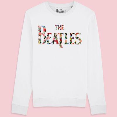 The Beatles: Exclusive Flowered Drop T Logo Woman's Sweatshirt