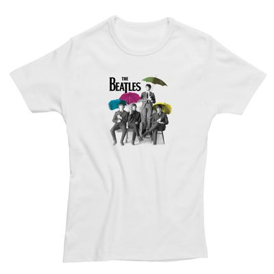 The Beatles: Umbrella Womens Fitted T-Shirt White