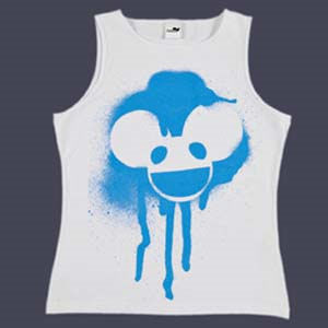 Deadmau5: Deadmau5 Spray Head Design on Ladies White Vest