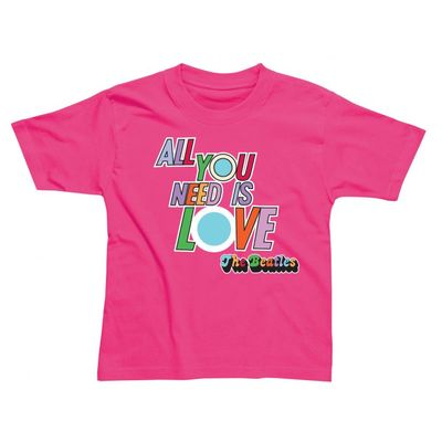 The Beatles: All You Need Is Love Children's T-Shirt Pink