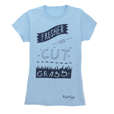 Rizzle Kicks: FRESHER THAN CUT GRASS T-SHIRT BLUE (LADIES)