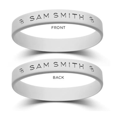Sam Smith: White Logo Rubber Bracelet