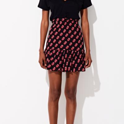 The Rolling Stones: Triya x Stones Tongue Print Mini Silk Skirt