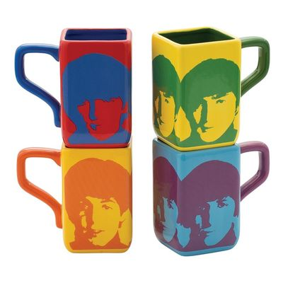 The Beatles: Color Bar 4pc Ceramic Square Mug Set