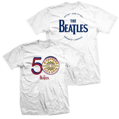 The Beatles: Men's White 50th Anniversary Sgt. Pepper T-shirt