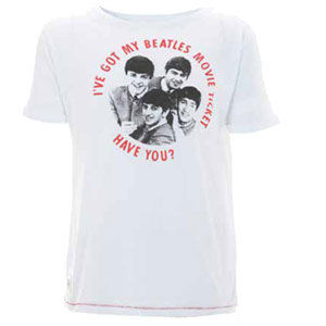 The Beatles: Beatles Movie Button White Worn By T-Shirt