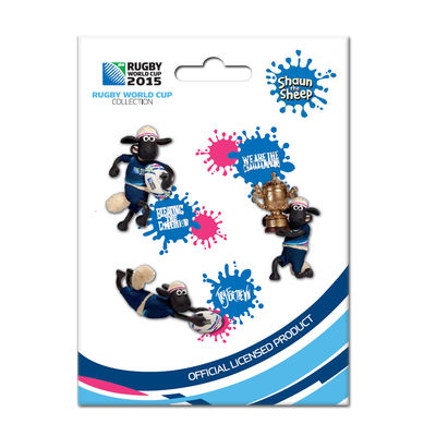 Shaun the Sheep: RWC 2015 - Shaun The Sheep 3D Pin-Set of 3 Badges