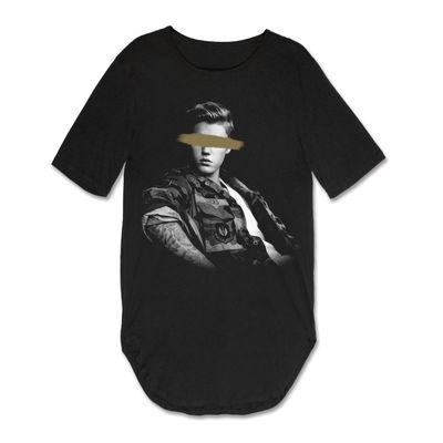 Justin Bieber: Justin Bieber Blocked Eyes Rounded Long T-Shirt