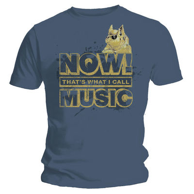 Now Music: Vintage Print NOW! That's What I Call Music Gold Logo On Blue T-Shirt