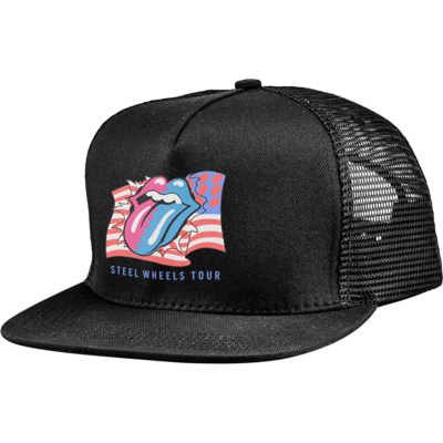 The Rolling Stones: RS STEEL WHEELS ZIGZAG FLAG TRUCKER CAP