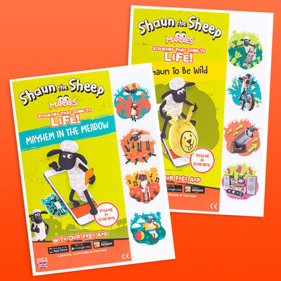 Shaun the Sheep: Mardles Dual Pack Of Shaun The Sheep Augmented Reality Stickers