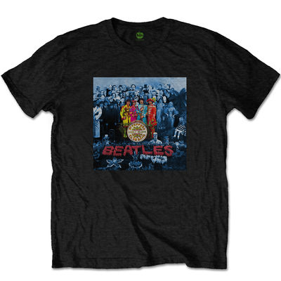 The Beatles: The Beatles Sgt Pepper Blue Mens Black T-shirt
