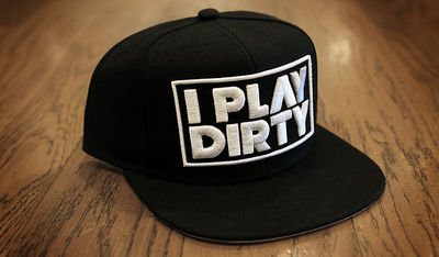 I Play Dirty: I Play Dirty White Logo Snapback Cap