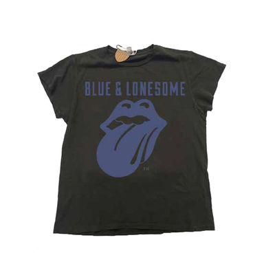 The Rolling Stones: 72 Logo Blue & Lonesome Black T-Shirt