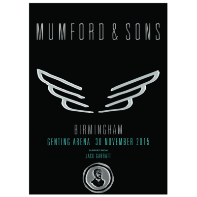 Mumford & Sons : Birmingham, UK, 2015 Show Screen Print