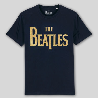 The Beatles: Gold Drop T Logo On French Blue Super Soft Unisex T-Shirt