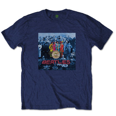 The Beatles: The Beatles Sgt Pepper Blue Mens Navy T-shirt