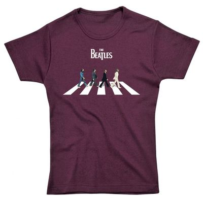 The Beatles: Abbey Road Characters Womens Fitted T-Shirt Maroon