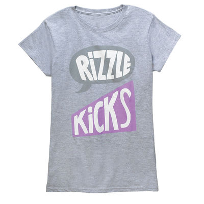 Rizzle Kicks: LOGO PURPLE T-SHIRT GREY (LADIES)