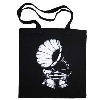 Amy Winehouse: Black Tote Bag Gramophone