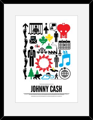Johnny Cash: Pictogram Rock Print by Viktor Hertz