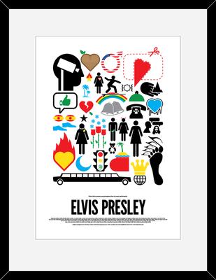 Elvis Presley: Pictogram Rock Print by Viktor Hertz