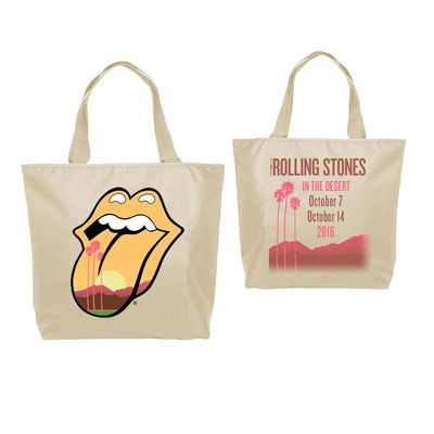 The Rolling Stones: Desert Trip Tongue 2016 Natural Canvas Tote