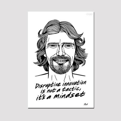 Virgin 40: Limited Edition Ted Draws Signed Numbered Richard Branson Poster